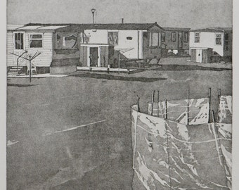 Annalong Caravan Park - Etching with Aquatint on Somerset Paper - By William White - Original Hand Pulled Print - FREE SHIPPING