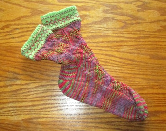OOAK handknit wool lace socks with colorwork and braids at cuffs - Women sz 7m to 9m; Men sz 5 to 7 N/M- FREE shipping U.S. only!
