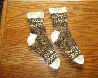OOAK handknit wool socks in white and brown colorwork with extra wide cuffs - Women sz 6m to 8m; Men sz 4 to 6 N/M- FREE shipping U.S. only!