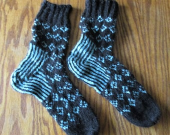 OOAK handknit wool socks in black and turquoise colorwork - wide cuffs - Women sz 8m to 10.5m; Men sz 6 to 8.5 N/M- FREE shipping U.S. only!