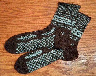 100% Wool, Black with blue feather patterns. Heavy weight Socks, Handspun, handdyed yarn, handknit, Men-XL, Wom-2XL - FREE shipping US only!