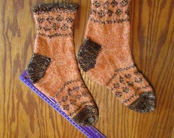 OOAK handknit wool socks in orange and brown colorwork - wide cuffs - Women sz 6.5m to 9m; Men sz 5 to 7 N/M- FREE shipping U.S. only!