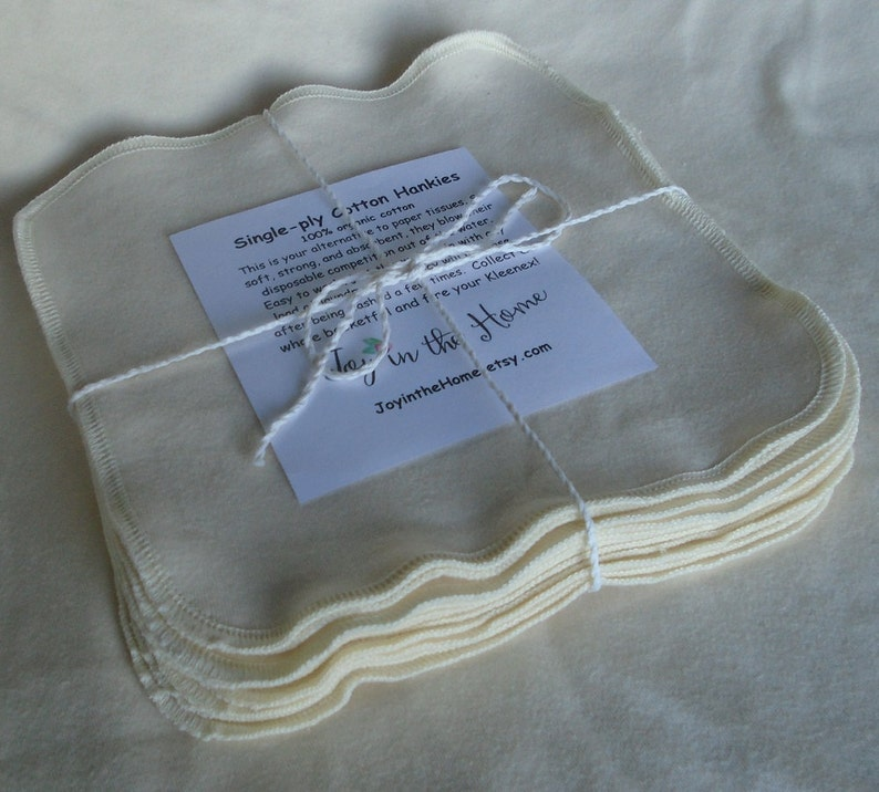 Thin little organic cotton hankies  7x7 inches  natural image 0