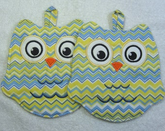 Designer Owl Pot Holder Hot Pad Set of 2 Kitchen Owl Ready to Ship