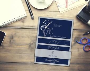 Love inspired Blue & Silver Wedding Stationery pack (invites, table listing, bonbonerie etc)