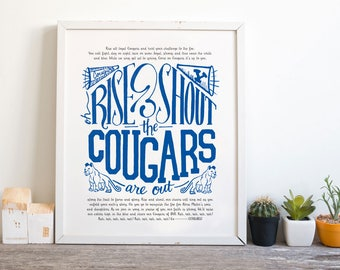 "8x10"" BYU Hand Lettered Fight Song Rise and Shout the Cougars Are Out Digital Print Brigham Young University Printable Fan Art"