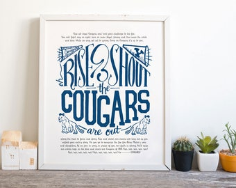 "11x14"" BYU Hand Lettered Fight Song Rise and Shout the Cougars Are Out Digital Print Brigham Young University Printable Fan Art"