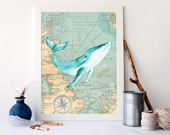 Watercolor Whale Print, Nautical Bathroom Decor, Nautical Home Decor,  Nautical Art Prints, Whale Sign, Bathroom Wall Decor, A 1422