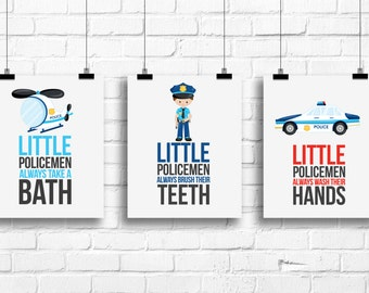 Delicieux Little Policemen Decor, Bathroom Rules Art Kids, Police Boys Bedroom Decor,  Police Car Decor, Bathroom Rules Posters Boys Art, BE 3080