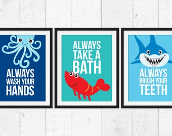 Wash Your Hands Brush Your Teeth Bathroom Manners Wall Decor Etsy