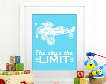 The sky is the limit wall decor, sky's the limit,  airplane decor, nursery boy wall art, airplane poster, airplanes wall decor, A-1105