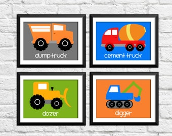 Trucks, construction, boy art prints, construction decor, construction prints, construction nursery decor, kids art, nursery print, A-4005