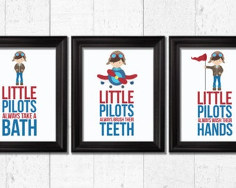 Little Pilots bathroom rules, Airplanes Decor, Word Art, Kids Wall Art, Airplanes Bathroom decor, Bathroom rules art, always wash, BE-3031