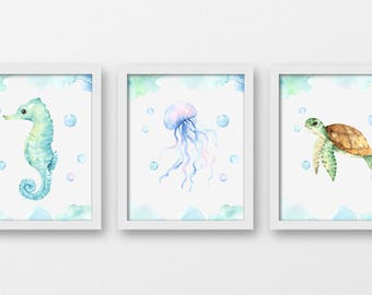 Nautical Watercolour Creatures Signs, Nautical Home Decor, Bathroom Nautical Decor, Sea Horse Art, Jelly Fish Print, Sea Turtle Art,  A-3112