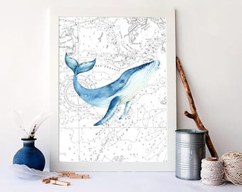 Watercolor Whale Print, Nautical Bathroom Decor, Nautical Home Decor, Nautical Sea Map Art Print, Vintage Map Poster, Whale Chart,  A-1423