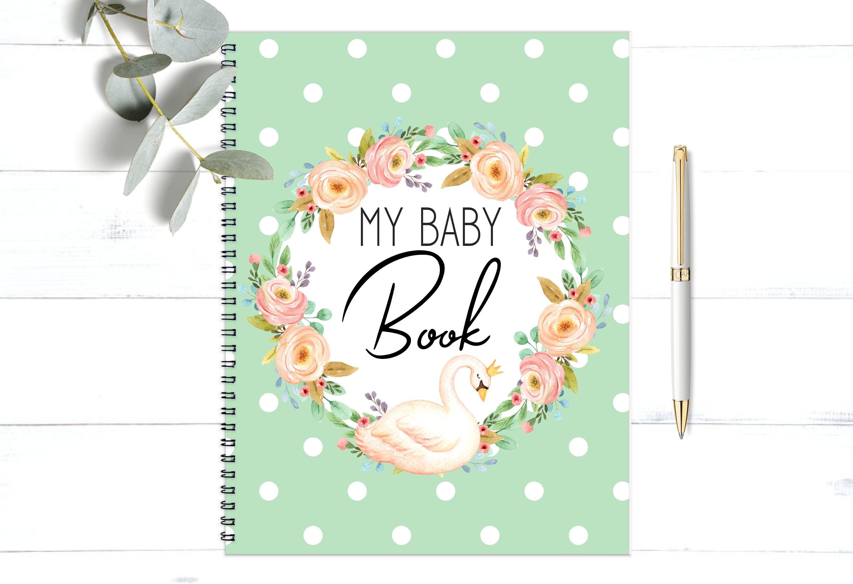 Baby Shower Cadeau Futur Maman baby girl book, pregnancy book, baby shower gift, baby album, baby journal,  baby milestones, my baby book, swan baby nursery decor, bb32