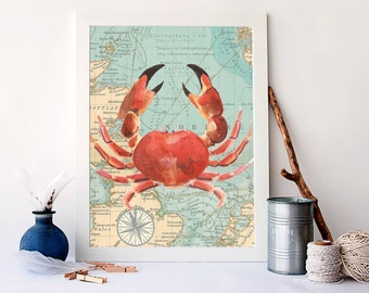 Vintage crab map art, watercolour nautical print, bathroom decor, nautical nursery wall art, crab poster, nautical art, A-1139