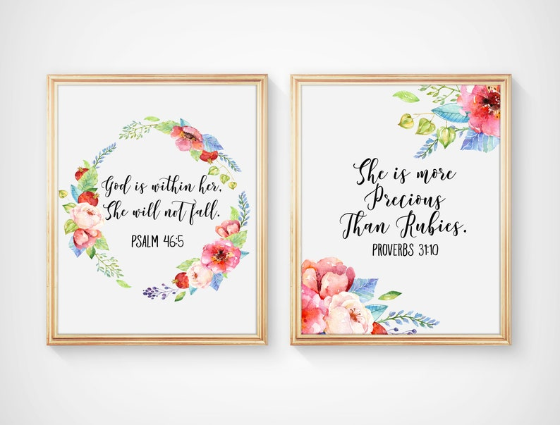 Bible Verses Nursery Prints, She is more Precious than Rubies, God is  within Her, She will not Fall, Red Poppies Nursery Art Prints, A-2075