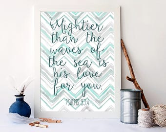 Mightier than The Waves, is His Love for You,  Bible Verse, Nautical Christian Decor, Kids Nautical Bedroom Decor, Christian Sign, A-1421