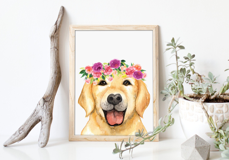 Dog Art Print, Baby Nursery Decor, Labrador Dog Print, Flower Wreath Art,  Dog Poster, Animals Art, Living Room Decor, Dorm Decor, A-1321