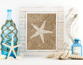 Starfish print, Starfish art, Starfish on map wall decor, beach house decor, living room art, vintage starfish, sea life bathroom, A-1108
