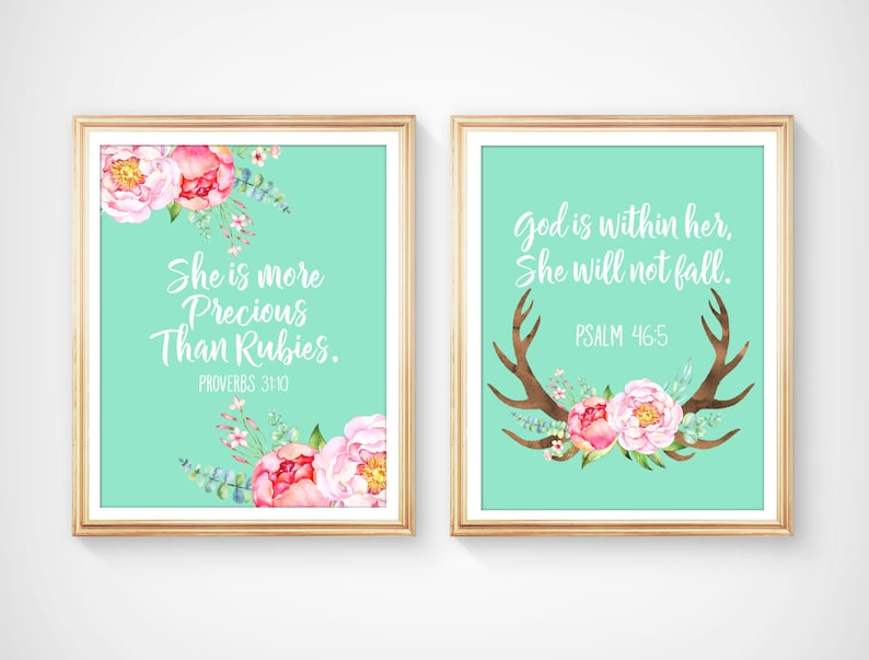Bible Verses Nursery Prints, She is more Precious than Rubies, God is  within Her, She will not Fall, Baby Girl Floral Nursery Art, BF-2038