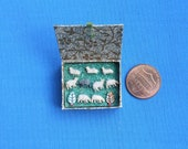 Doll house miniature. Hand made box with toy sheep.