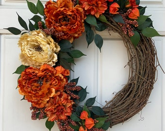 Fall Grapevine Burnt Orange and Golden Peonies with Orange Dahlias