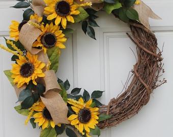 Sunflower Burlap Summer Fall Grapevine Wreath