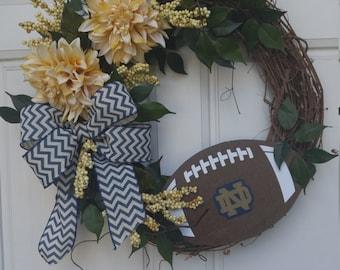 Notre Dame Football Wreath, University of Notre Dame Football Wreath, Fighting Irish Football Wreath,Notre Dame Fighting Irish Wreath