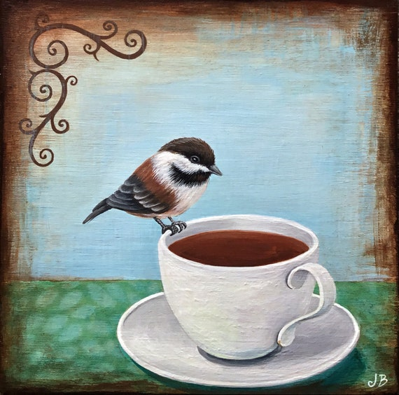 Chickadee on My Tea
