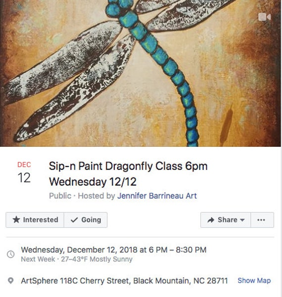 Dragonfly Sip-n-Paint Class Wednesday December 12th 6pm