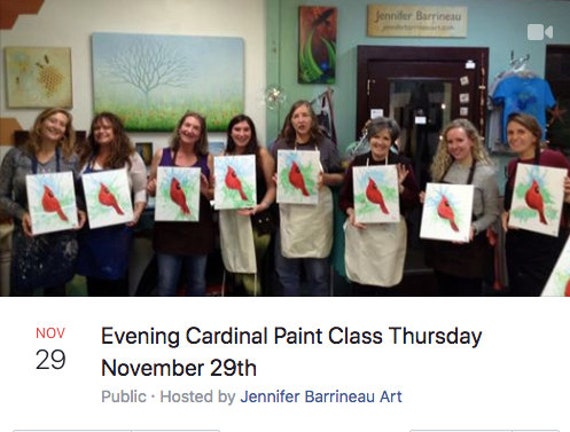 Evening Cardinal Sip n Paint Class November 29th 6:30pm to 9pm