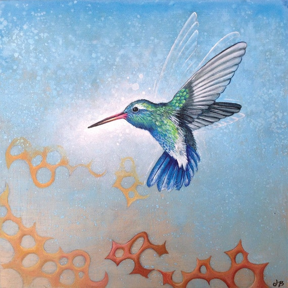 HUMMINGBIRD Art Print with Matt from an original painting By Jennifer Barrineau