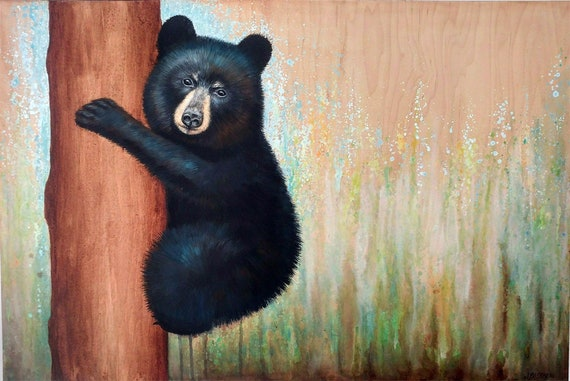 Bear Cub Painting titled Tree Hugger