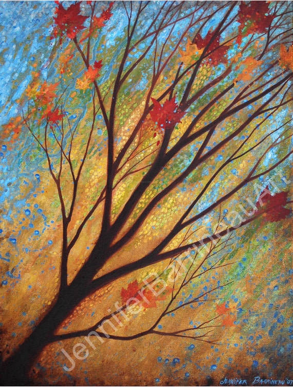 Design Modern Wall Art Blue Green Gold with Red Orange Leaves Tree Art Print by Asheville NC, Artist Jennifer Barrineau, Follow The Day