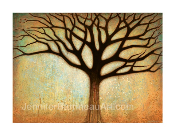 Earth Tone Colors Tree Wall Art Print by Jennifer Barrineau titled Spectakular Tree