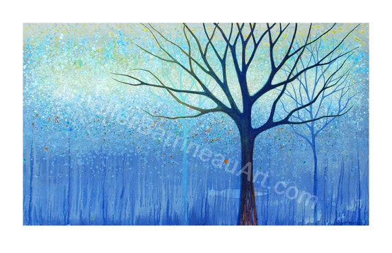 TREES BLUE Nature Wall Art Print From  a painting by Asheville NC Artist Jennifer Barrineau