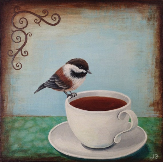 Chickadee on my Tea Small Painting on Wood Panel
