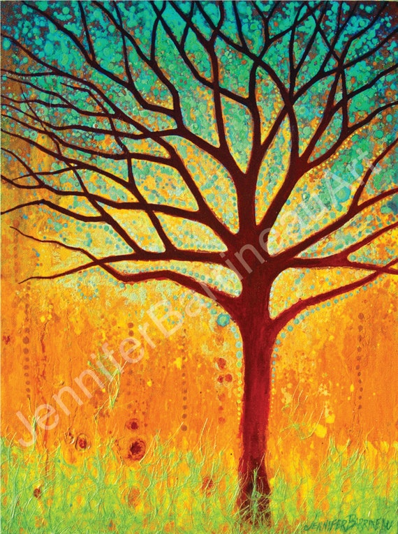 Colorful Wall Art Tree Print by Jennifer Barrineau titled Magic Tree