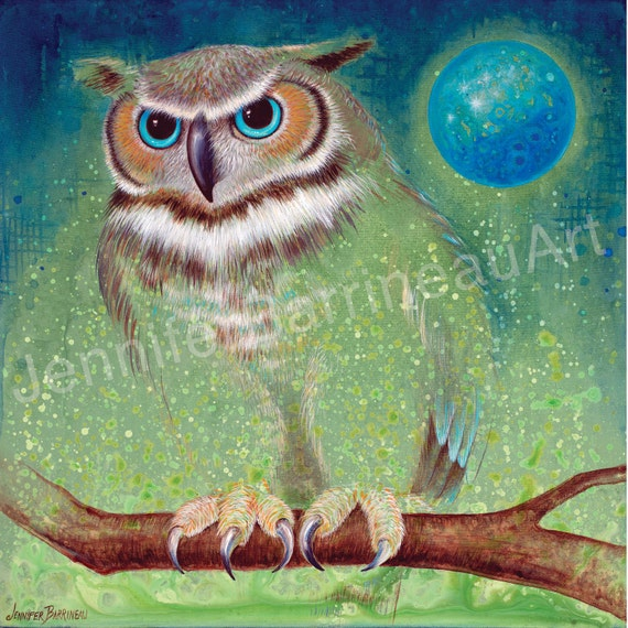 Great Horned Owl with Moon Art Print with blue and green Titled Spirit Raptor