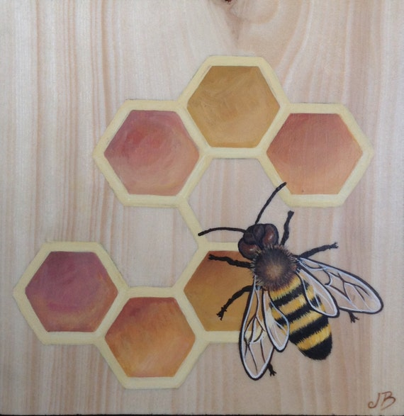 Honey Sweet bee art original painting on wood block