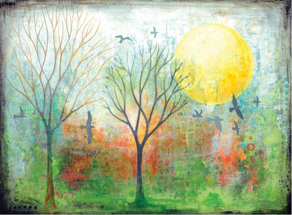 colorful Tree Wall Art Print with birds and Sun by Jennifer Barrineau titled Day Glow