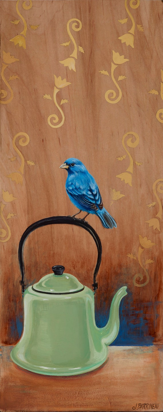 Indigo Bunting with Teapot,  original bird art on wood with blue and green