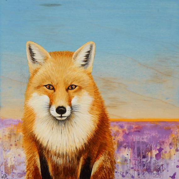 Red Fox Art Print from an original painting By Jennifer Barrineau