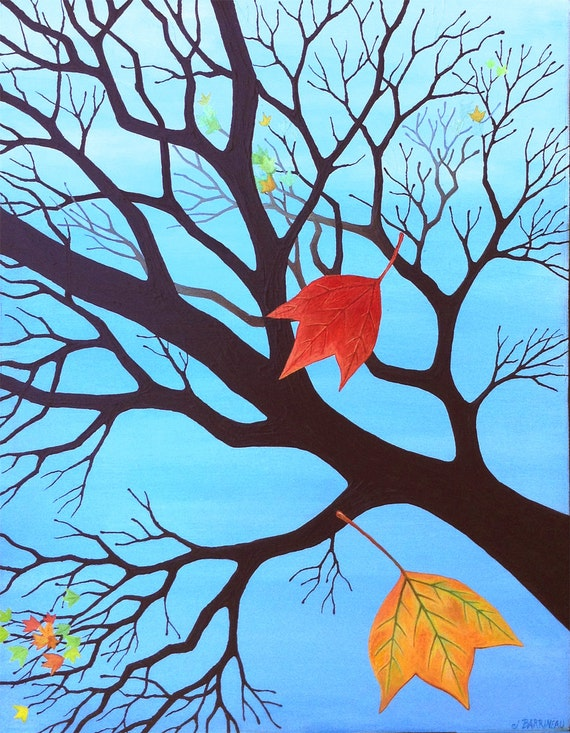 Fall Color Leaves Tree Painting New Original by Jennifer Barrineau Titled Time Change