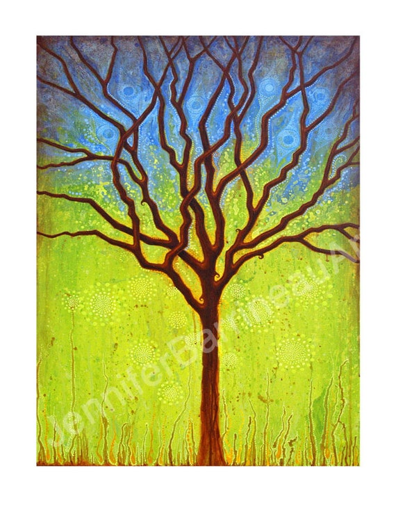 TREE Blue to Green Colorful Wall Art Tree Print by Jennifer Barrineau titled October Tree