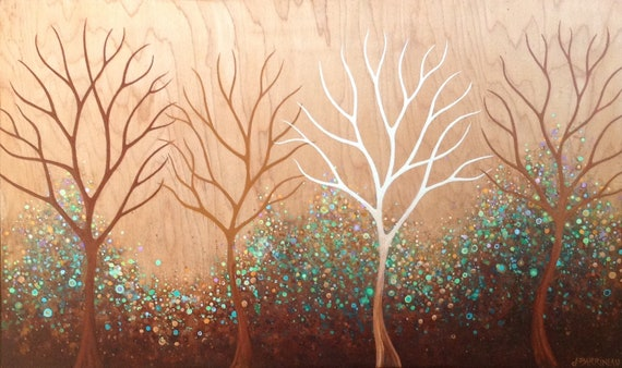 Bare Trees on Wood Grain with Gold, Original acrylic on wood by Jennifer Barrineau