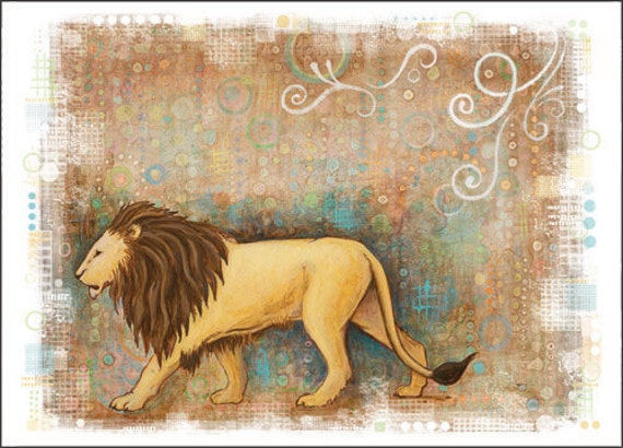 LION Art Greeting Card from an original acrylic  Painting by Jennifer Barrineau