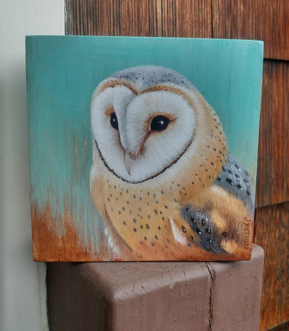 Portrait of a Barn Owl Small Original Painting by Asheville NC artist Jennifer Barrineau unique Valentines gift for owl lovers